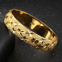 Star Carved Thick Bangle 15mm Wide 18k Yellow Gold Filled Wo...