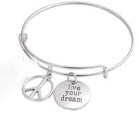 Винтаж серебро жить ваша мечта знак мира браслеты расширяемый провод браслет панк свадьба манжеты подвески браслеты для женщин ювелирные изделия мода подарок