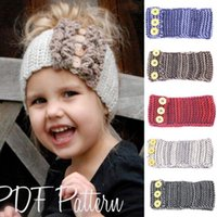 7 color Girls Fashion Wool Crochet Headband Knit Hairband con la decoración del botón Winter Newborn Infant Ear Warmer Head Headwrap