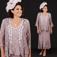 2019 Elegant With Jacket Mother's Dresses 3/4 Long Sleeve Lace Ankle Length Formal Mother Of The Bride Abiti su misura