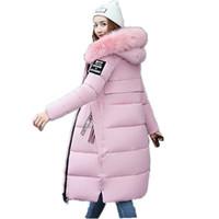 Atacado- nova moda grande gola de pele casaco mulheres parka longo grosso de algodão acolchoado jaqueta feminina 2017 inverno parkas senhoras casacos preto ZZ100