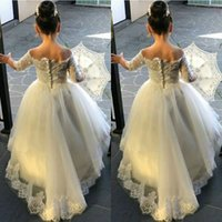 Princess White Off the Shoulder Lace Appliques Flower Girls ...