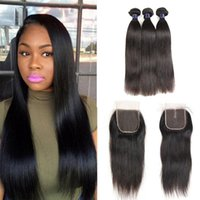 Unprocessed Brazilian Virgin Hair With Lace Closure Indian P...