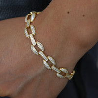 Mens gold cuban chain bracelet with cz paved new arrived hip...