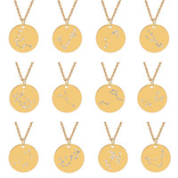Creative Rhinestone Constellation Necklace Gold Color Disk N...