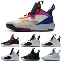2019 New Jumpman 33 XXXIII 7 Colorful White Green Purple Cas...