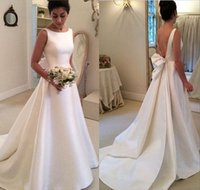 Gioiello A Line Satin Shiny Sleeveless Sweep Train Open Back Ruffle Abiti da sposa su misura New Coming Beautiful