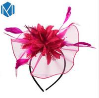 M MISM женщины элегантный чародей заколки полые цветок перо Бусины Ленты для волос пряжа коктейль свадебные аксессуары для волос