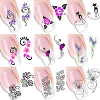 50pcs Summer Hot Beautiful Flowers Nail Art Stickers Water T...