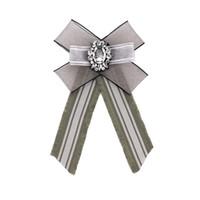 Модные Новые 2020 Ткань Lattice Rhinestone платье рубашка броши Pin Bow Tie платье Воротник Ювелирные аксессуары