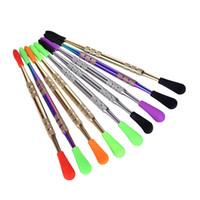 OEM Gold Rainbow Wax Dabber Tools Herramienta Dabbing con puntas de silicona 121mm Dabber Tool para tubería de agua Bong de vidrio Herramienta de limpieza