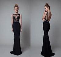 Black Berta Mermaid Evening Dresses Sexy Backless Sheer Bate...