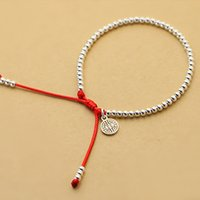 whole saleNew S925 Sterling Silver  Bracelet Handmade Lucky Red Rope Bangle NJewelry