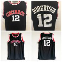 رجل سينسيناتي bearcats أوسكار روبرتسون كلية كرة السلة الفانيلة خمر جيرسي # 12 الرئيسية قميص أسود مخيط S-XXL
