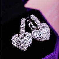 Nouveaux bijoux de luxe 18kt Whiterose Gold Pavé rempli Pauvre Blanc Saphir CZ Diamond Femmes Drop Boucle d'oreille pour cadeau des amoureux avec boîte