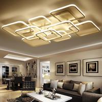 원격 제어 디 밍이 아크릴 현대 광장 샹들리에 실내 홈 장식 패션 LED 펜던트 램프 천장 램프