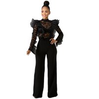 Black Lace Jumpsuit Women Sexy Sheer Ruffle Long Sleeve Body...