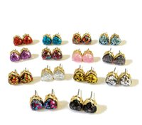 New Heart Glitter Druzy Drusy Square Dot Earring 14 Colors G...