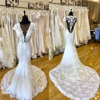 Custom Made Lace Mermaid Wedding Dresses Real Picture 2019 P...