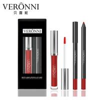 2 teile / satz VERONNI Matte Flüssigen Lippenstift + 1 stück Lip Liner Make-Up Wasserdicht Lipgloss Lip Kits Batom Maquiagem
