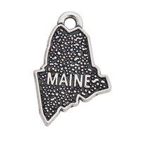 Los encantos al por mayor en línea del mapa de la forma de Maine del vintage 13 * 20m m 50pcs AAC801