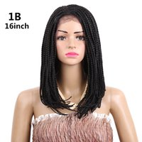 3X Box Braid Crochet Lace Frontal Wig Ombre Synthetic Wigs B...