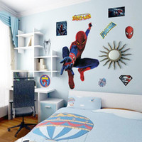 Grands enfants Stickers muraux Cartoon Spiderman 3D Stickers muraux pour chambre d'enfants DIY Super-héros Wall Art Posters
