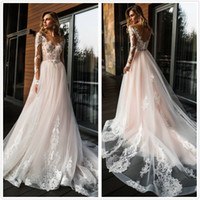 2018 Sheer Long Sleeves Lace A Line Abiti da sposa Tulle Lace Applique da sposa Backless Sweep Train Abiti da sposa da sposa