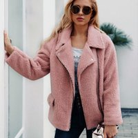 New Autumn Winter Europe Womens Faux Fur Coat Turn- down Coll...