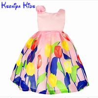 Kseniya kids Bohemian Pink Princess Girl Dress Flowers Summer Baby Girls Vestidos Para Fiesta y Boda Sin Mangas Transpirable