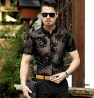 Mens Floral Pattern See Through Silk Shirts Hollow Sex Dress...