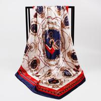 Donne sciarpa Silk Summer Print Foulard Satin Square Testa Sciarpe Donne Donne Designer di Lusso Scialli 90 * 90 cm Bandana Grande Hijab Hijab Wraps 90 * 90