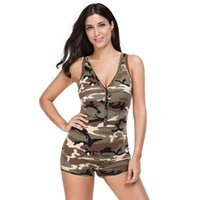 Sexy Romper Playsuit V - Neck Sleeveless Army Camouflage Shor...