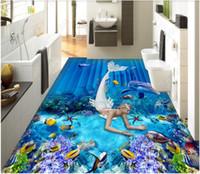 3d pvc flooring custom photo Mermaid mythology space underwater world dolphin 3D floor 3D floor tiles wallpaper roll murals wallpaper