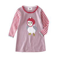 New Arrival baby girls knit dress Cartoon Birds Stripe Kids ...