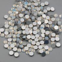 Yeni SS3-SS30 Beyaz Opal Renk 1440 ADET 3D Nail Art Düz Geri Olmayan Sıcak Düzeltme Rhinestones Olmayan Düzeltme Cam Kristaller Taş