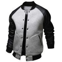 Kühle College-Baseball-Jacken-Mann-Mode-Design Schwarz-PU-Leder-Hülsen-Männer Slim Fit Varsity Jacke Marke Veste Homme Plus Size 4XL