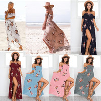 Boho style long dress women Off shoulder beach summer dresse...