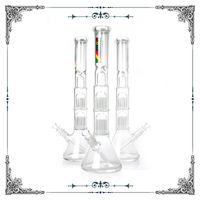 18 pollici Zob Glass Beaker Bong Splash Guardia e Doppia 10 bracci di albero perc in vetro percolatori percolatori percolatori in vetro narghilè grande tubo di bong alto alto