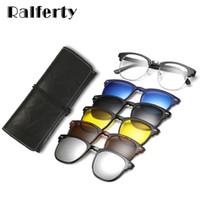Ralferty Ultra-light TR90 Магнитный клип на солнцезащитные очки Мужчины Женщины Поляризованные солнцезащитные очки UV400 Рецепт Очки Рамка с футляром