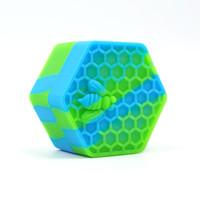Zengin Renk Altıgen Silikon Konteyner Yapışmaz Yapışmaz Kavanoz Yağ Crube Balmumu Silikon Kavanoz DAB Balmumu Konteyner