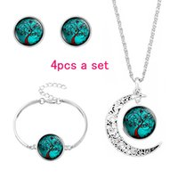 Glass Cabochon Necklace Earrings Bracelet Jewelry Set Colorf...