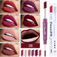 CmaaDu Lipstick Lip Liner 2 in 1 Sexy Beauty Pigment Matte Rossetto Matite Idratante Labbra Kit per il Trucco 6 Colori DHL