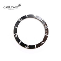 CARLYWET Wholesale Replacement Black With White Writings Bisel de cerámica de 38 mm Insertado hecho para Submariner GMT 40mm 116610 LN
