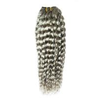 """Brasilianische lockige Haarverlängerungen """"10-26"""" Zoll 100% Menschliche Haarwebart Bündel 1 Stück Farbe graue Haarverlängerungen nicht remy"""