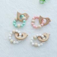 Bracelet en bois de bébé en forme de bijoux de dentition pour bébé pour bébé en bois bio perles de silicone hochet bébé poussette accessoires jouets