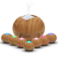 Humidificador de madera de madera de 400 ml Humidificador de aire de madera Humidificador ultrasónico Aroma Essential Oil Difusor Mistal portátil Mistal portátil con 7 colores LED