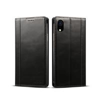 Pour l'iPhone XR 6.1inch véritables téléphones portables en peau de vache protéger étui en cuir avec étui en TPU, fente pour carte, Réaliser le chargement sans fil