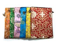 럭셔리 꽃 실크 패브릭 선물 가방 키즈 구두 가방 휴대용 주머니 Drawstring 어린이 여행 가방 신발 Foldable