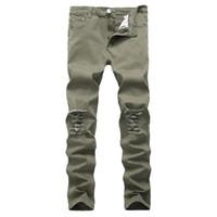 Motocicleta high street hip hop buraco jeans Destroyed homens Jeans Slim Mens motociclista estiramento Demin Calças do Exército verde tamanho 42
